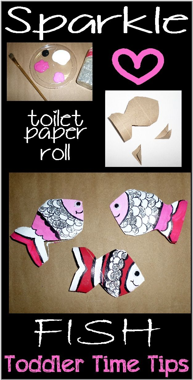 Fish sparkle! Made from Toilet paper rolls!!! Toddler Time Tips Amazing projects and activities @ https://www.facebook.com/toddlertimetips