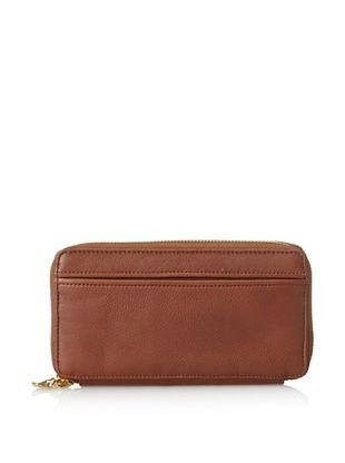 50% OFF Tusk Women's Donington Napa Double-Zip Checkbook Clutch Wallet, Brown