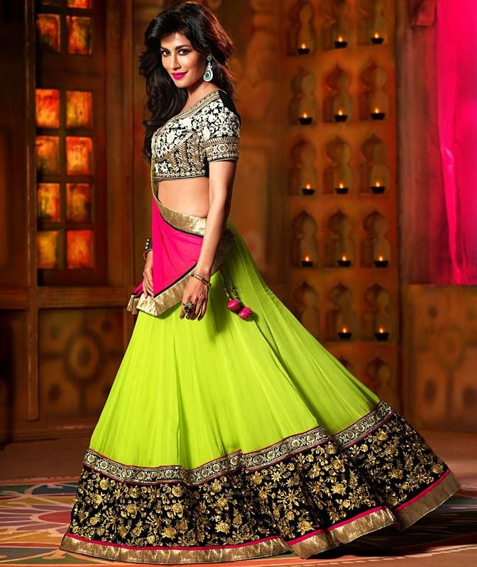 Own this mesmerising #Limegreen and #Black #Lehenga donned by hot ...