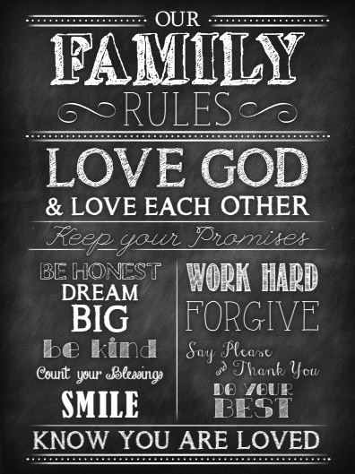 Free Family Rules Chalkboard Printable
