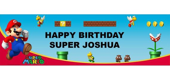 Mario Bros Personalized Happy Birthday Banner 5ft, Mario Birthday Party Banner These are great for a Child's Party!