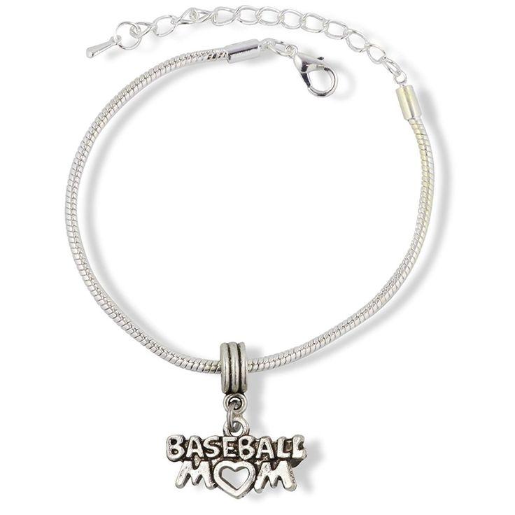 Baseball Mom Snake Chain Charm Bracelet