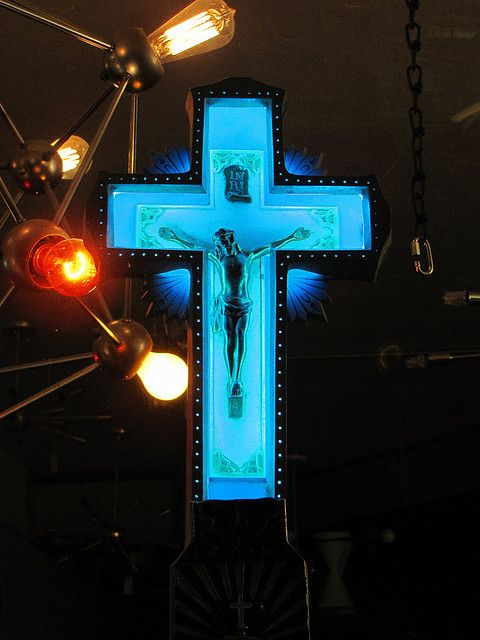 "Neon Crucifix.  I want this.  oooop's  forgive me, i forgot to pray all day, today and i can really feel the bowels of Gotham city Center streets 5 points.  ""Be about the goodness of Fathers work"""