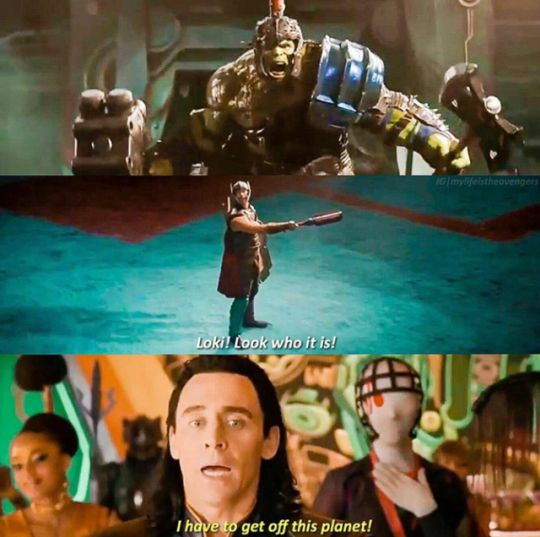 "THAT FACE WHEN YOU DEEPLY REGRET TRYING TO INVADE EARTH WHILST THE OPPOSITION HAD A HULK ""We have a Hulk!"" Tony Stark warned him! I love how they're still recognising Loki's understandable fear of the beast that slammed him side-to-side. At least they'll be on the same team this time, though it'll be fun for them trying to put their grudges aside and work together! ""Puny God!""➲❂Thor: Ragnarok"