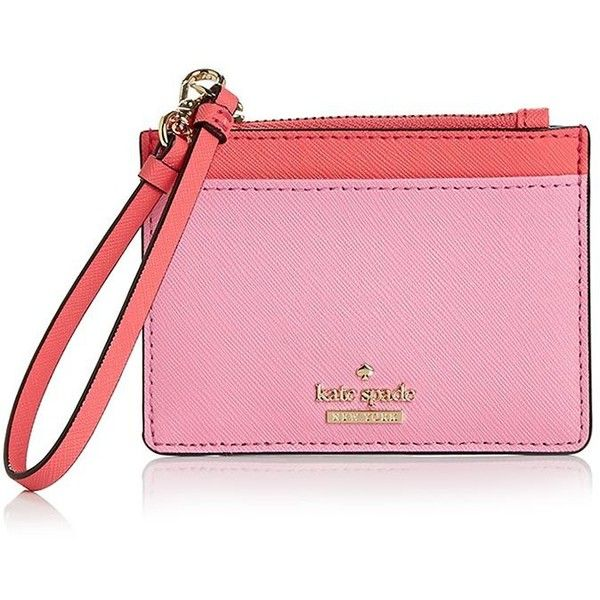 kate spade new york Cameron Street Mellody Leather Card Case ($92) ❤ liked on Polyvore featuring bags, wallets, pink wallet, card carrier wallet, leather card holder wallet, pink bag and kate spade wallet