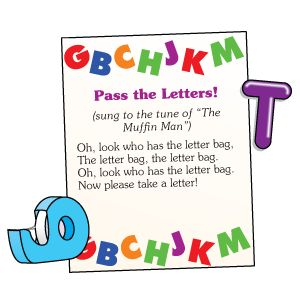 sing the song while passing the letter bag...when the song stops have the child holding the bag reach in, pull out a letter and say its name/sound