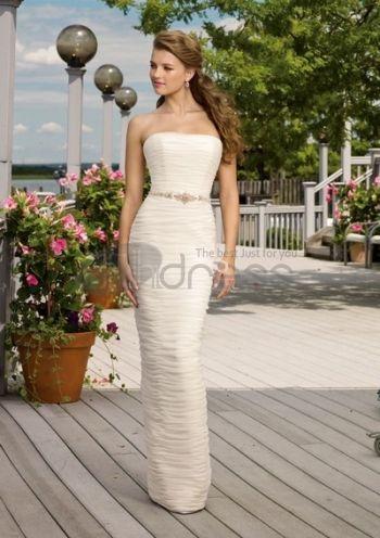 Abiti da Sposa Senza Spalline-Una sottile linea di abiti da sposa senza spalline d\'estate