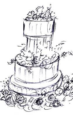 wedding-cake-decoration-sketch by thebaker.com, via Flickr