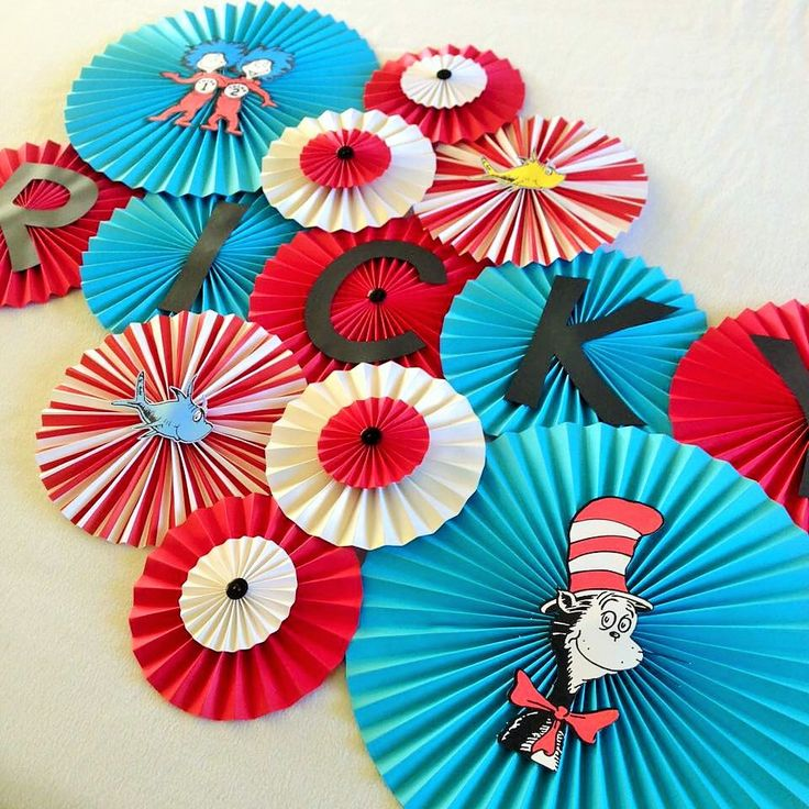 Cat In The Hat Themed Paper Fans- Set of 13, Cat In The Hat Birthday Backdrop, Thing 1 Thing 2, Dr. Seuss Birthday, Dr. Seuss Baby Shower by LanvisB on Etsy https://www.etsy.com/listing/242090636/cat-in-the-hat-themed-paper-fans-set-of