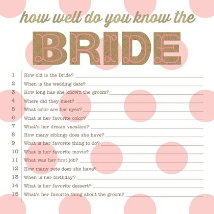 bridal shower how well do you know the bride game