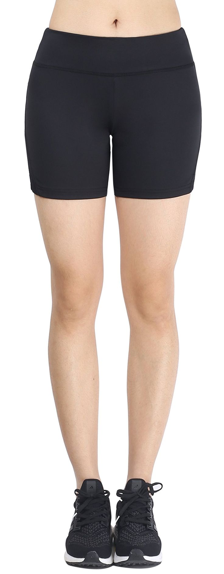 """Zinmore Women's Ladies Runnng Cycling Yoga Short Pants Exercise Workout Shorts Black L. 88% Polyester and 12% Lycra, Sweat-wicking, stretchy and comfortable. 4.9"""" inseam. Hidden waistband pocket to hold keys, cards and all the little things. Ideal for yoga, running, workout, cycling, lounge and everyday casual wear."""