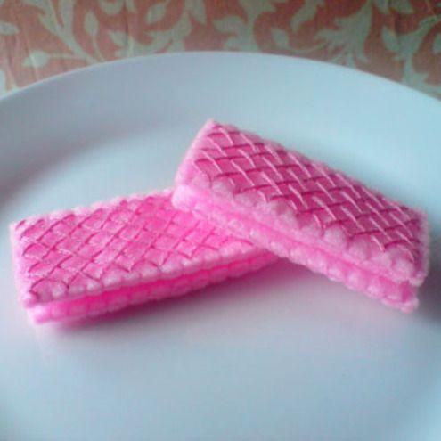 3 Pink Wafer Biscuits - Felt Food