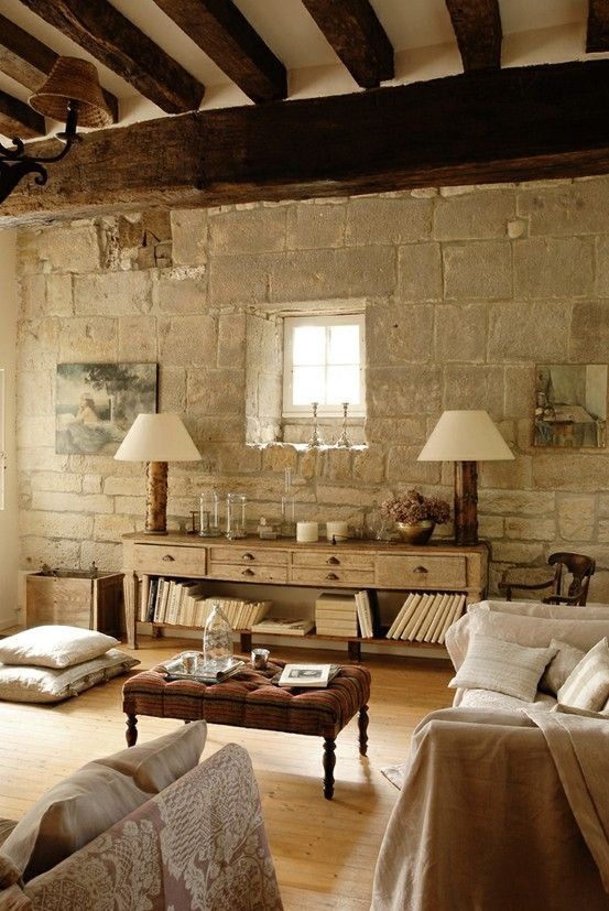 love the stone wall and the ceiling