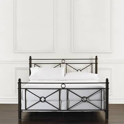 Like a rich, dark line drawing on crisp parchment, artists of the Mediterranean inspired the clean, simple strokes of our sturdy and stylish Catalina Iron Bed. The geometric shapes of the headboard and footboard contrast gracefully with the long, lean lines of the removable canopy.Heavy-gauge metal frameTextured black finishFinials add a finishing architectural touchOptional removable canopy if removed, finials cap the end postsAssembly required