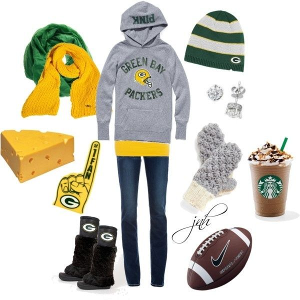 this would definitly me exept replace the starbucks with cheese curds and diamond earrings with packers earrings  and replace the mittens with packer ones