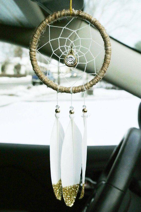 Bling Car Accessory Dreamcatcher, Gold Dream Catcher, Review Mirror Charm, Boho, Unique Gift for Wom