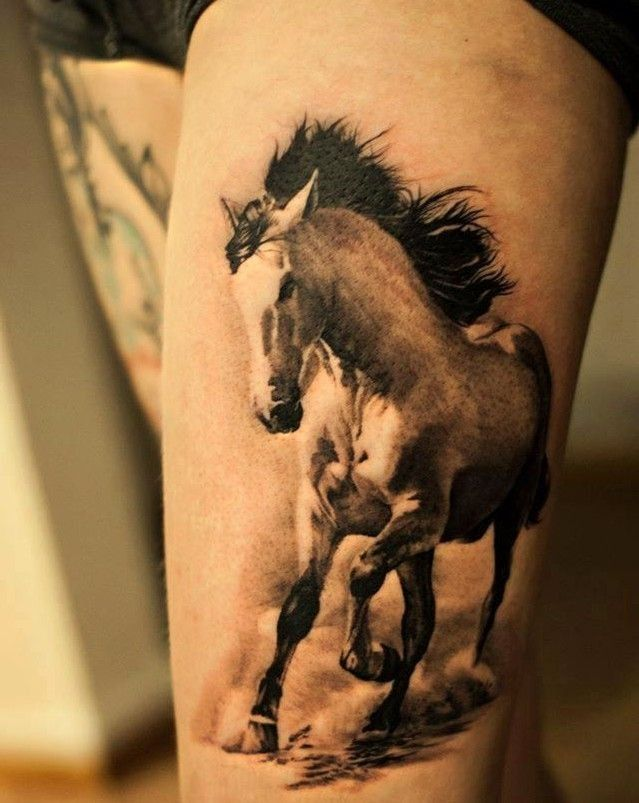 black and white horse tattoos