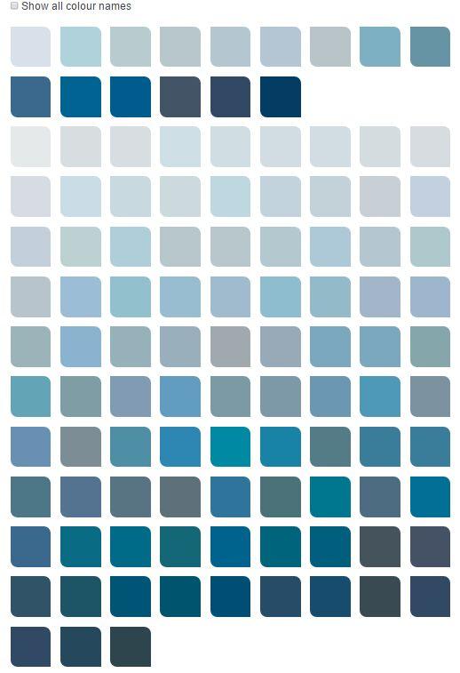 Dulux Muted Blues Color Chart Blue Colour Palette Dulux