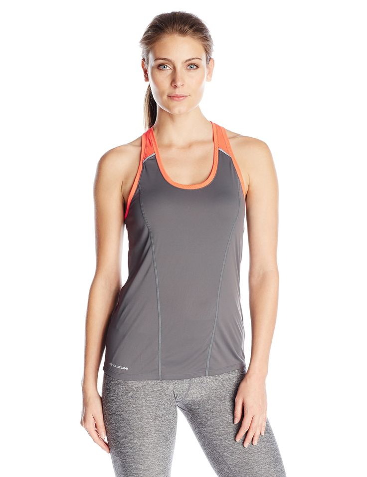 Pearl iZUMi Women's Pursuit Singlet, Shadow Grey/Clementine, X-Small. 100% Polyester. Imported product. Lightweight transfer dry fabric with Ice Fil Treatment provides superior moisture transfer and added cooling. Strategically placed Mesh material for ventilation. Added reflectivity for enhanced visibility.