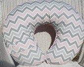 Pink and gray Boppy cover