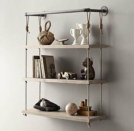 Rope and pipe wall shelving by Restoration Hardware