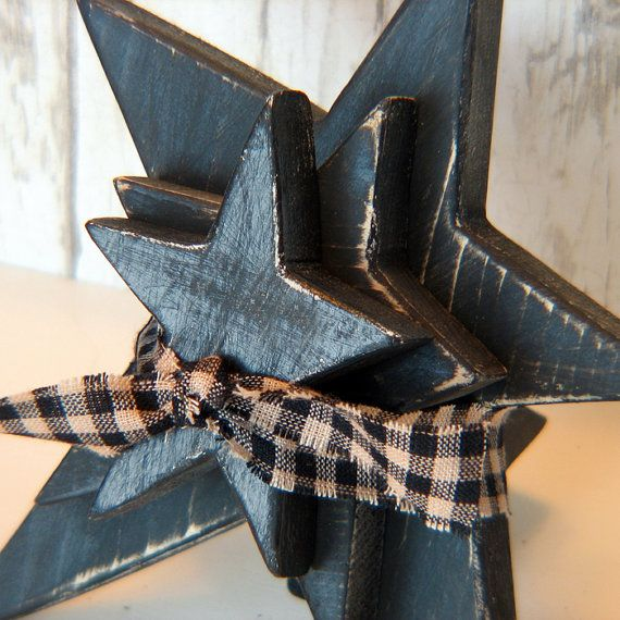 3 Wooden Distressed Stars - Rustic Primitive Stars