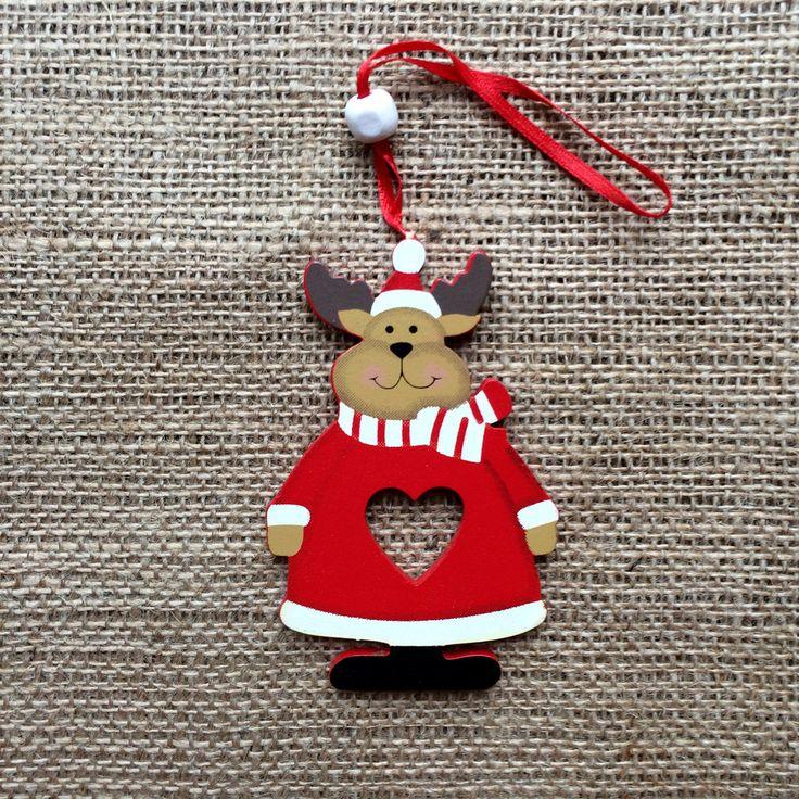Christmas Decoration Wooden Heart Reindeer