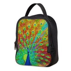 Vibrantly coloured Peacock neoprene luncbag