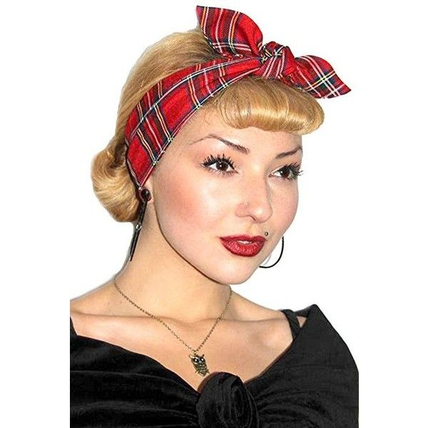 Vintage 50s Style Red Tartan Rockabilly Pin up Girl Head Scarf ($9.04) ❤ liked on Polyvore featuring accessories, scarves, red plaid shawl, tartan plaid shawl, red scarves, tartan plaid scarves and tartan shawl