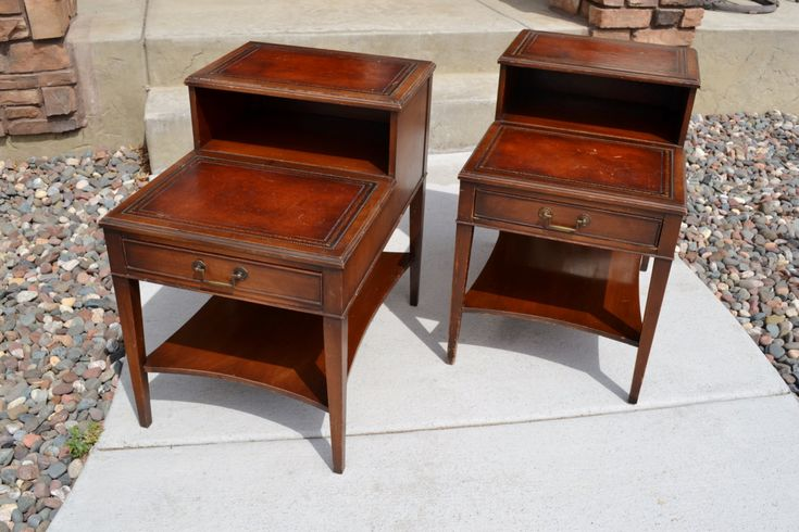 Pair Of Vintage Mahogany Leather Top Step End Tables With Drawer | Mid  Century Night Stand | Genuine Mahogany | End Table With Leather Top By  Chalku2026