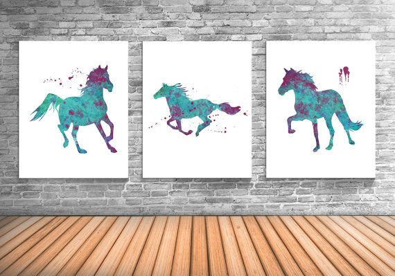 Paard Art Paardensport Decor Set van drie Art door TheWildlands