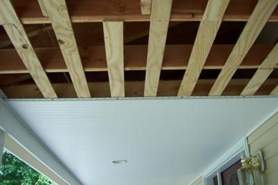 Partially installed vinyl beadboard showing plywood nailers: One of our site visitors, Shelly, contributed this photograph and helpful information about installing a vinyl beadboard ceiling:   I noticed that your