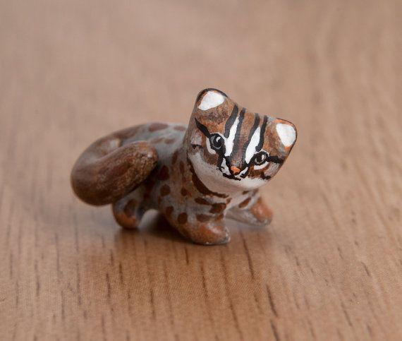 Rusty-spotted cat animal totem - Polymer clay animal OOAK figurine, talisman