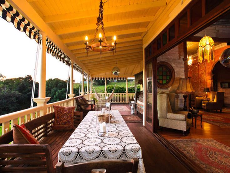I want a huge porch with an awning that opens into my living room.