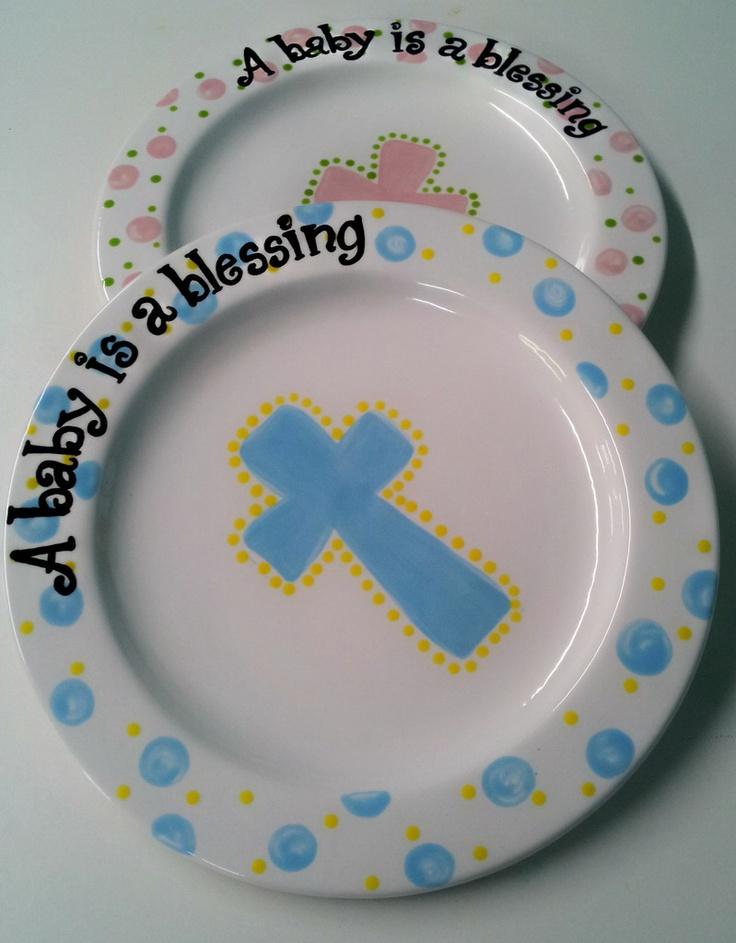 24 best baptism plates images on Pinterest   Baptism gifts ...