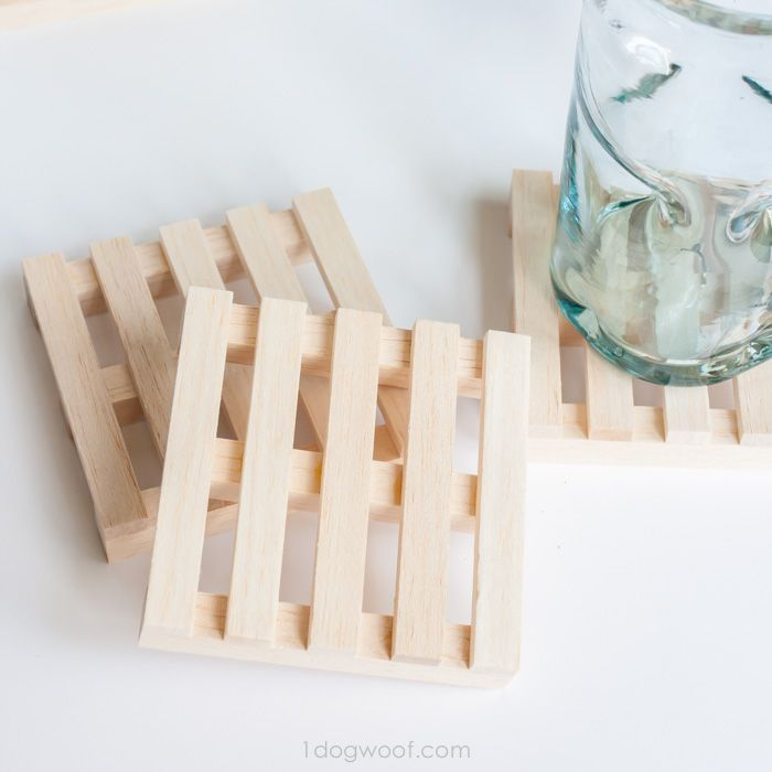 how fun are these wooden pallet coasters?   www.1dogwoof.com