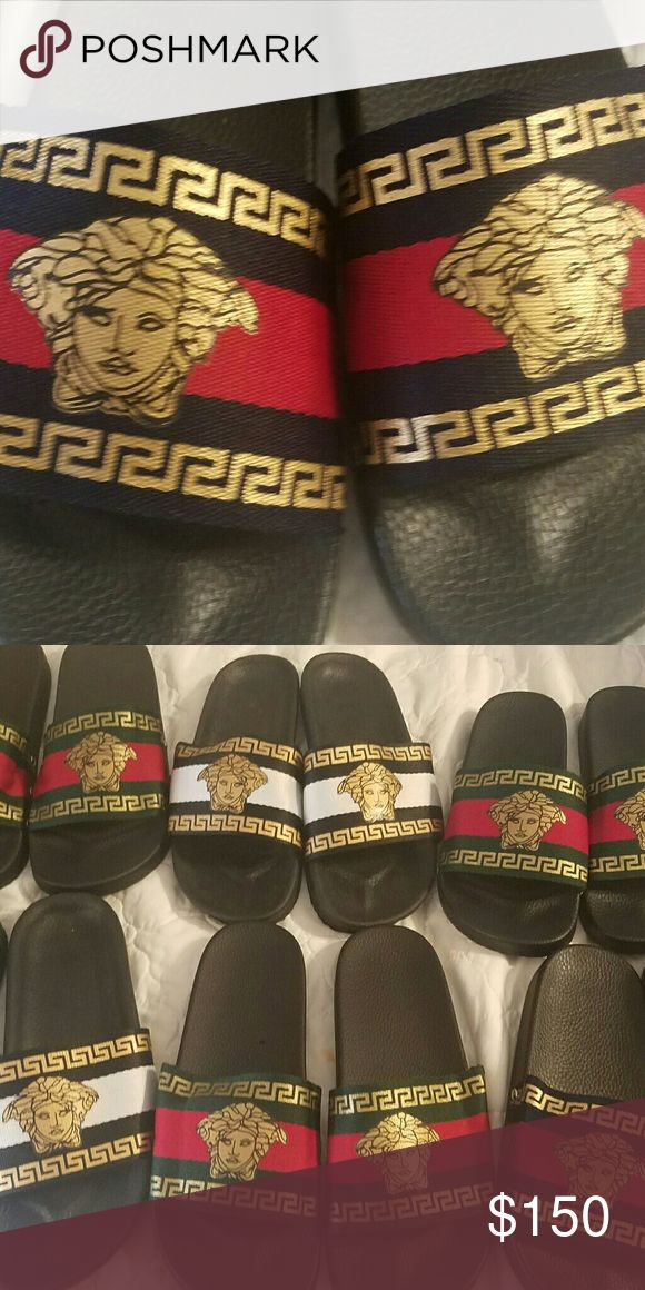 Versace Designer Reproduction brand slippers Versace Designer Reproduction brand unisex slippers (Green, Gold, Red) Versace Collection Shoes Slippers