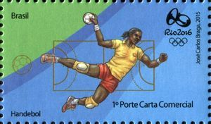Sello: Handball (Brasil) (Olympic and Paralympic Games Rio 2016 second series) Mi:BR 4267,WAD:BR071.15,RHM:BR C-3482