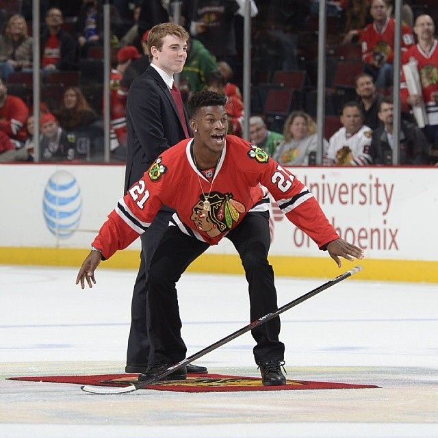 He shoots, he scores! The #Bulls Jimmy Butler reacts to his Shoot the Puck success at tonight's @Chicago Blackhawks game.