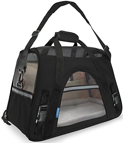 """OxGord® Pet Carrier Soft Sided Cat / Dog Comfort """"FAA Airline Approved"""" Travel Tote Bag - 2015 Newly Designed, Large, Black"""