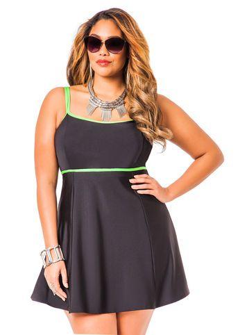 Ashley Stewart Solid Swim Dress