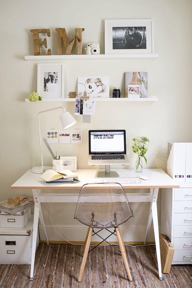 Small desk, hanging shelf, photo frame.