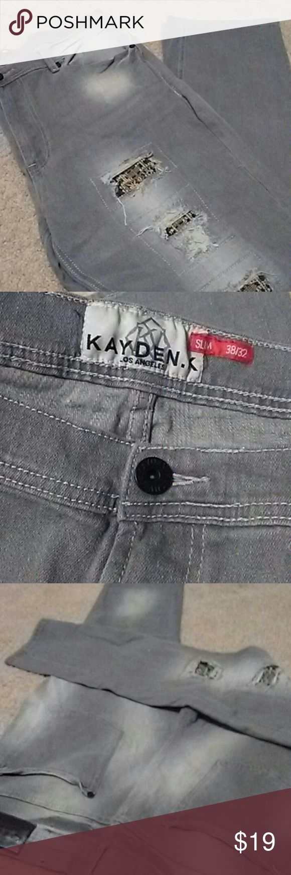 Kayden k mens slim jeans Mens light grey slim 38/32 Kayden K jeans Ripped/ Distressed with fabric patchwork Kayden K Jeans Slim