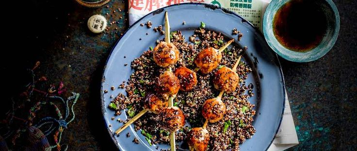 Peruvian/Japanese fusion food is called Nikkei and this recipe for tsukune with Japanese-style quinoa is a great, easy way to try it at home