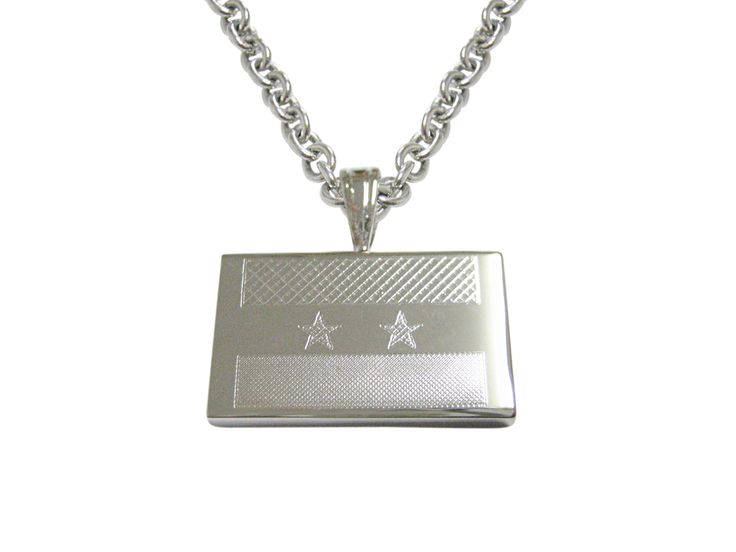 Silver Toned Etched Syria Flag Pendant Necklace