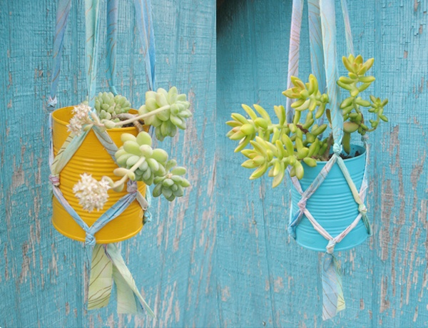 tin can + spray paint + fabric strips = hanging planter
