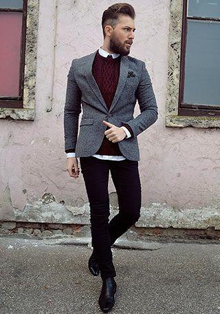 グレージャケット×ボルドーケーブル編みセーターの着こなし(メンズ) | Italy Web