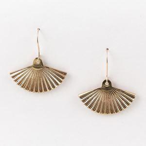 Orecchini ventaglio in bronzo con amo in argento, bagnato in oro rosa