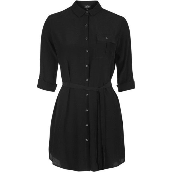 TopShop Petite Belted Shirtdress ($51) ❤ liked on Polyvore featuring dresses, black, utility dress, petite shirt dress, long sleeve shirt dress, rayon dress and shirt dress
