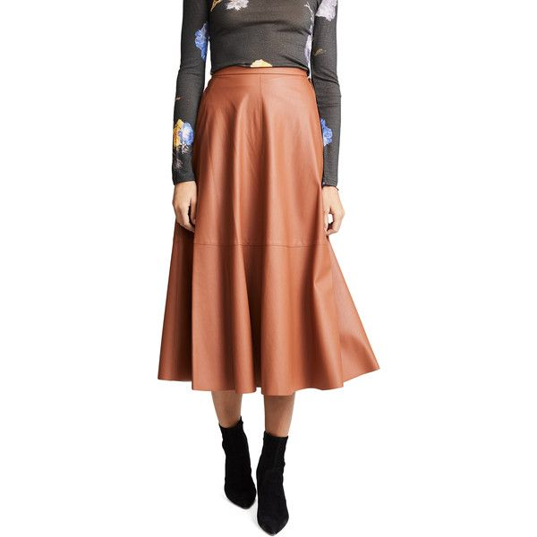 Edition10 Faux Leather Maxi Skirt ($400) ❤ liked on Polyvore featuring skirts, glazed ginger, high-waist skirt, long brown maxi skirt, brown maxi skirt, floor length skirt and long faux leather skirt